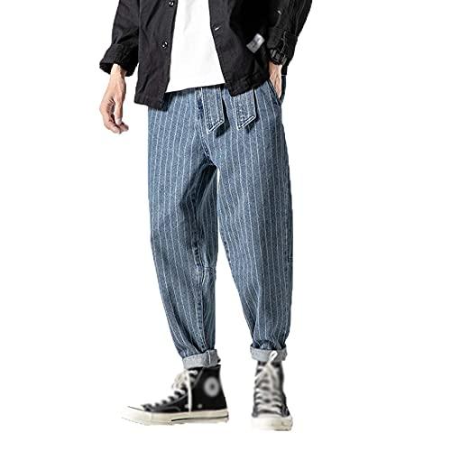 WJANYHN Pantalones Vaqueros a Rayas para Hombre, más gordos, de Talla Grande, Holgados, Pantalones Harem, Pantalones con pies gordos