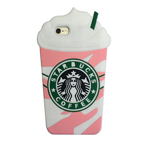 3D Pink Frappuccinos Coffee Cup Silicone Case for iPhone 6 Plus and 6s Plus Large Size 5.5 Inches Soft Rubberized Back Cover Cool Fresh Special Unique Chic Lovely Gift Girls Teens Kids Women