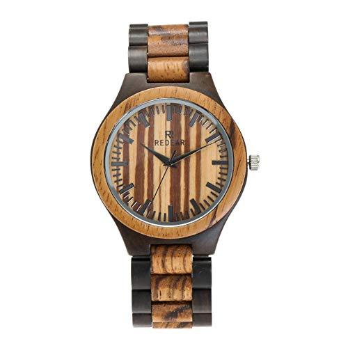 SYLL Reloj de Madera Vintage para Hombre Reloj de Pulsera de Madera con Movimiento de Cuarzo analógico para Hombre con Caja Exquisita,003