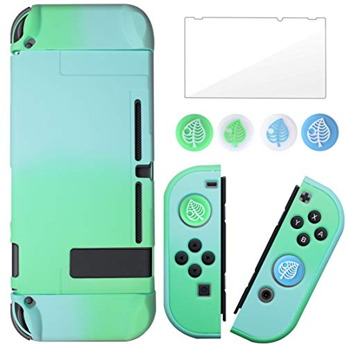 BRHE Dockable Switch Protective Case Cover for Nintendo Switch Joy-Con Controllers with Glass Screen Protector, Anti-Scratch Shock-Absorption Grip Cover (Blue and Green)