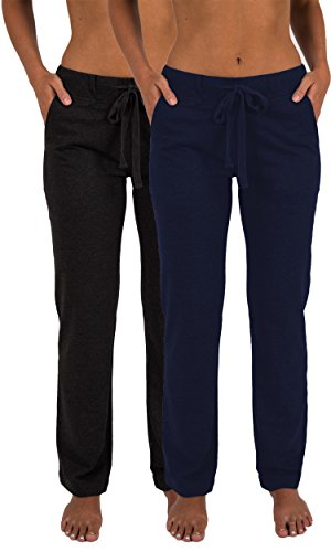 Sexy Basics Women's 2 Pack Ultra Soft French Terry Cotton Drawstring Yoga Lounge Long Pants (2 Pack- Navy & Charcoal, Large)