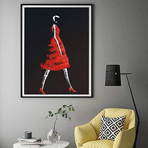 Gymqian Resumen Creativo Moderno Vestidos para niñas Pintura en Lienzo Carteles e Impresiones Figura Art Wall Imágenes Negras para la Sala de Estar Decoración del dormitorio-60x90cm Sin Marco