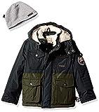 Weatherproof Boys' Little Paprika Jacket with Multi Use Pockets, Black/Olive, 5/6