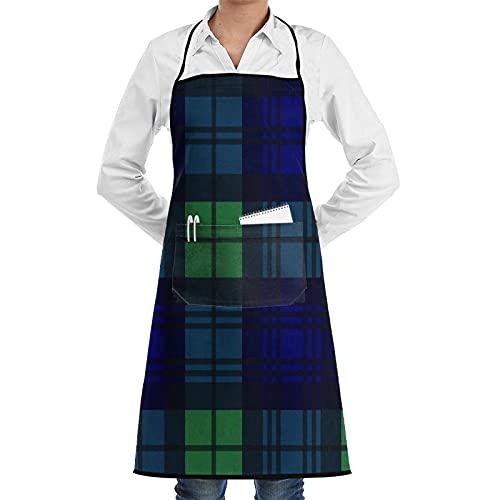 XWJZXS Delantal de cocina impermeable para hombres delantal de chef para mujeres restaurante de BBQ,Modelo inconsútil del vector del tartán del estilo del reloj negro en azul marino, verde y negro