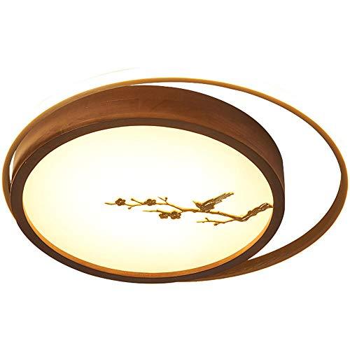 luz de techo led cocinaMadera redonda regulable Iluminación para Salón,Comedor,Dormitorio 47 * 47 * 6CM-30W-3000lm