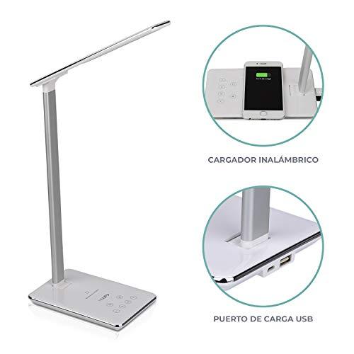 NGUP. LED-bureaulamp met draadloze oplader Qi en USB, bedlampje, leeslamp, 4 kleurtemperaturen, helderheid instelbaar en uitschakel-timer