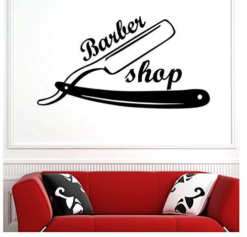 Rasiermesser Friseur Aufkleber Name Hacken Brot Aufkleber Haarschnitt Rasierer Poster Vinyl Wand 31 * 58 CM