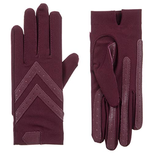Isotoner Women's smartDRI Chevron Shortie Touchscreen Gloves - 30004 (Small/Medium, Plum)