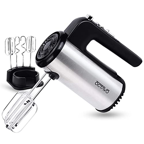 OCTAVO Electric Hand Mixer,5-Speed 300W Powerful Turbo function Handheld Mixer with Eject Function,Storage Base and 4 Metal Accessories for Whipping Mixing Cookies, Brownies, Dough Batters (sliver) (Renewed)