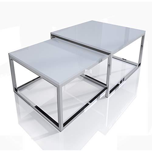 Yoshi 2 in 1 Set Chrom 2-er Set Weiß Hochglanz Chrom Konstruktion Couchtisch Tisch Wohnzimmertisch moderner Kaffeetisch Sofatisch Beistelltisch Wohnzimmer Chromrahmen (Chrom / Weiß Hochglanz)
