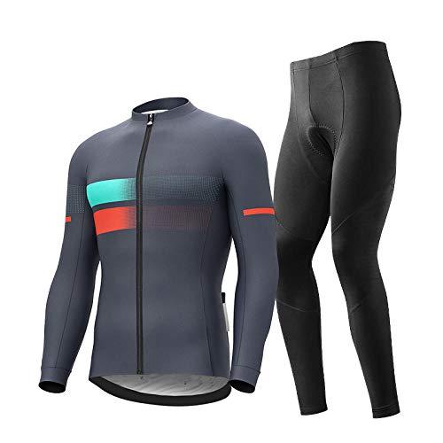 T- JMGP Pantalones para Ciclismo Montar Correr, Ropa Ciclismo para Hombre,  Camiseta Ciclismo Manga Larga,  Pantalones Ciclismo Gruesos 3D,  Traje Ciclismo Secado Rápido para Bicicleta Montaña- Gris_L