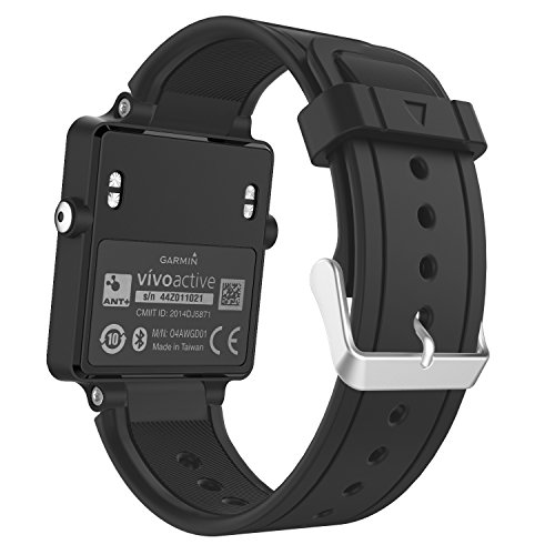 MoKo Watch Band Compatible with Garmin Vivoactive, Soft Silicone Replacement Fitness Bands Wristbands with Metal Clasps for Garmin Vivoactive/Vivoactive Acetate Sports GPS Smart Watch - Black