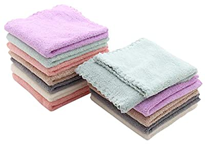 Baby Washcloths 12 Pack 12x12 Inches- Microfiber Coral Fleece Extra Absorbent and Soft for Newborns, Infants and Toddlers - Sensitive Skin and Newborn - Ideal Baby Shower Gift