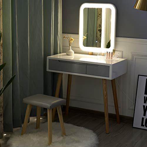 YOURLITE Schminktisch mit LED-Beleuchtung, Spiegel, gepolsterter Hocker und Make-up-Organizer, Weiß Weiß+grau+rechteckiger Spiegel