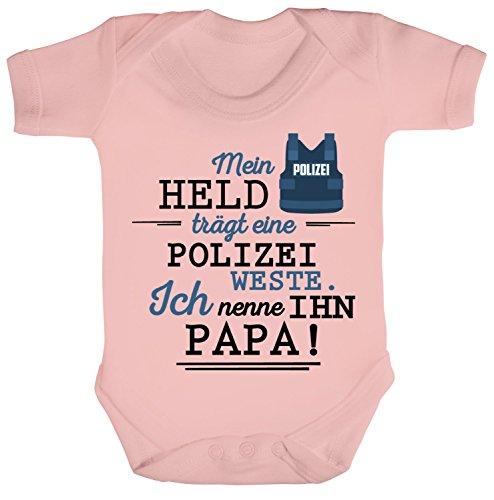 Vatertag Polizist Strampler Bio Baumwoll Baby Body kurzarm Papa - Mein Held trägt eine Polizeiweste, Größe: 0-3 Monate,Powder Pink