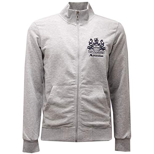 Aquascutum 2451AE Felpa Uomo Grey Melange Full Zip Cotton Sweatshirt Man [XL]