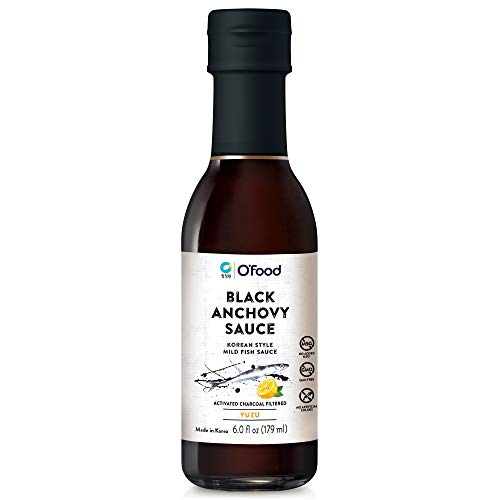 O'Food Chung Jung One Black Anchovy Sauce, Korean Style Mild Fish Sauce, YUZU, No Added MSG, Gluten Free, No Artificial Colors, 6.0 fl oz (179ml)
