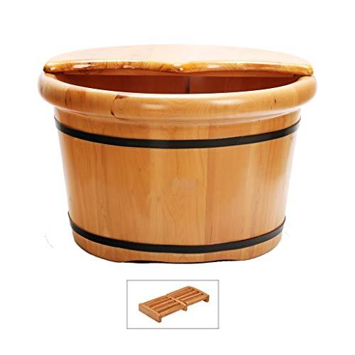 CHY Bois Bain De Pieds for Massage Pieds Et Soaking Pédicure, Sauna Big Footbath Seau Et Soaker Bowl (Color : Wood Color)