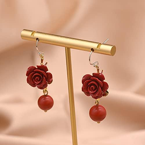 SALAN Pendientes Colgantes Hermosos De Flor De Coral Rojo Natural para Mujer, Pendiente De Gota De Ágata Roja, Joyería De Plata De Ley 925
