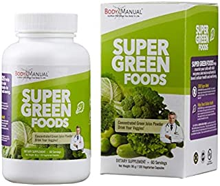 Super Greens Supplement Capsules (2 Month Supply) Packed with 31 Organic Whole Food Vegetables - Spirulina, Chlorella, Kal...