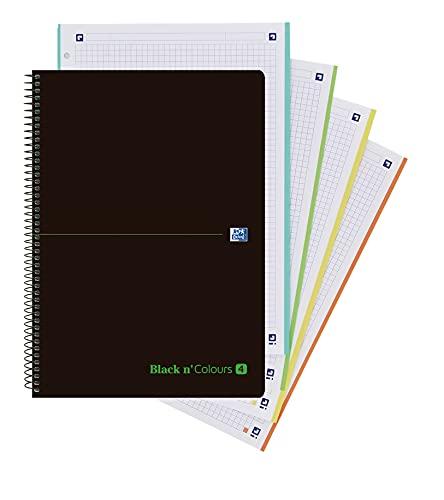 Oxford Black N'colours, Cuaderno A4, Libreta con Tapa Plástico, 80 Hojas con Cuadrícula 5x5, 4 Colores Banda, Color Negro