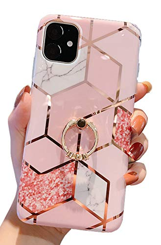 Qokey Compatible with iPhone 11 Case,Marble Case Cute Fashion Design for Men Women Girls with 360 Degree Rotating Ring Kickstand Soft TPU Shockproof Cover Designed for iPhone 11 6.1 Inch Bling
