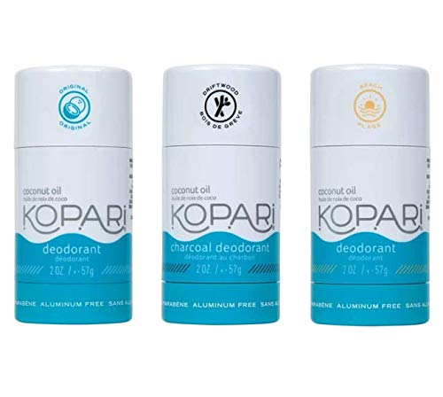 Kopari Aluminum-Free Deodorant Combo 3 pack | Non-Toxic, Paraben Free, Gluten Free & Cruelty Free Men's and Women's Deodorant | Made with Organic Coconut Oil | 2.0 oz