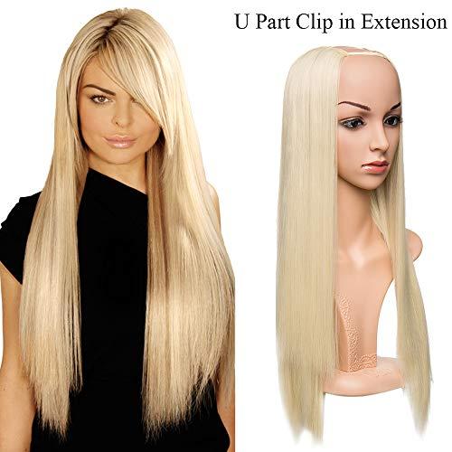 """Extensions a Clip Cheveux Naturel 26""""(66CM)[ 1 Bande à 7 Clips ] Fibres Résistant à Chaleur Clip in Extension Cheveux [Blond Blanchi]"""