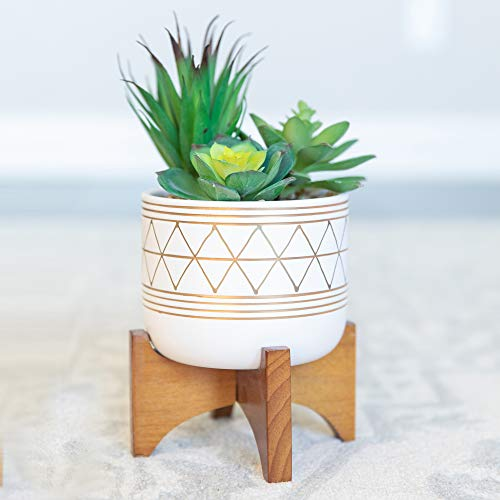 Flora Bunda Artificial Succulents in 5 Inch White Gold Line Geometric Ceramic Planter with Wood Stand Mid Century