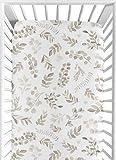 Sweet Jojo Designs Floral Leaf Boy or Girl Fitted Crib Sheet Baby or Toddler Bed Nursery - Gender Neutral Beige Taupe White Gender Neutral Boho Watercolor Botanical Flower Woodland Tropical Garden