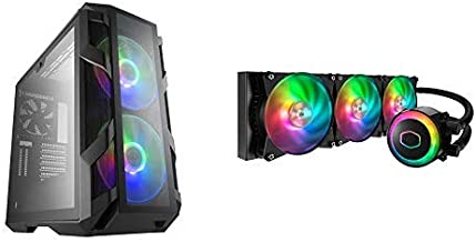 Cooler Master MasterCase H500M ATX Mid-Tower w/ 4X Side Tempered Glass Panels, and MasterLiquid ML360R Addressable RGB AIO CPU Liquid Cooler 28 Independently-Controlled LEDs Triple RGB Air Balance MF