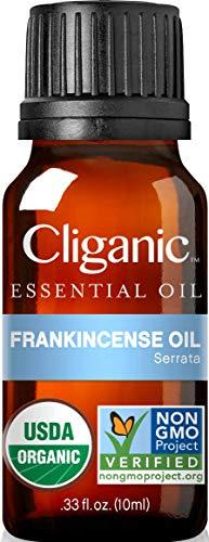 Cliganic USDA Organic Frankincense Essential Oil - Boswellia Serrata, 100% Pure Natural Undiluted, for Aromatherapy | Non-GMO Verified