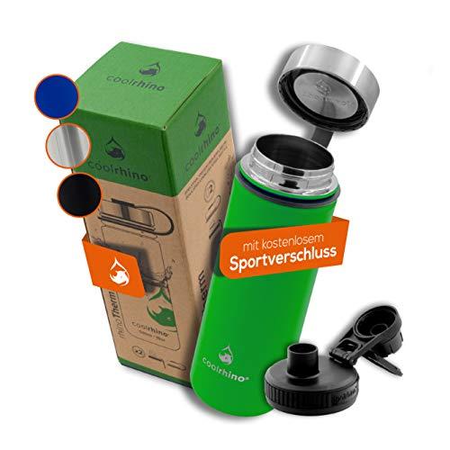 coolrhino leichte Edelstahl Trinkflasche 500ml / 1l Auslaufsicher, Kohlensäure geeignet, Isolierflasche für Sport, Outdoor & Kinder - Thermosflasche doppelwandig inkl. Sport-Deckel – Sport-Flasche