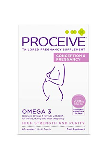 Proceive Conception and Pregnancy Omega 3 - High Strength & Pure Fish Oil Tablets - for Women - 60 Capsules/1 Month Supply