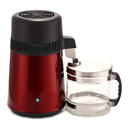 DCHOUSE Wasserdestilliergerät, Edelstahl, 4 Liter, mit Kunststoff-Sammelflasche, reines Wasser, Destillationsfilter, Wasseraufbereiter rot