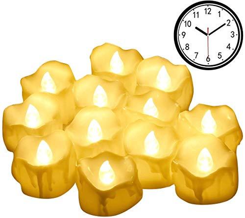 Criacr LED Kerzen, 12er Led Teelichter mit Timer, Flammenlose Kerzen, 6 Stunden EIN / 18 Stunden Aus, Elektrisch Teelichter für Weihnachten, Halloween, Bars, Hotels, Partys, Warmes Weiß
