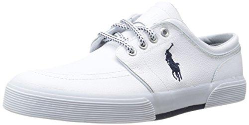 Polo Ralph Lauren Men's Faxon Low Sport Leather Fashion Sneaker, White, 11 D US