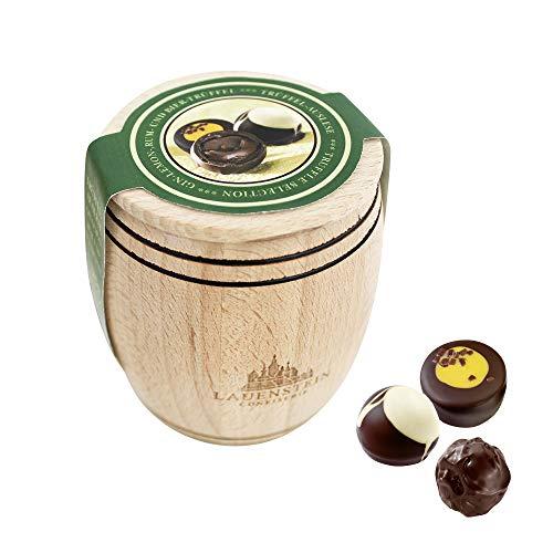 Lauensteiner Holzfässchen125g mit 3 verschiedenen Trüffeln und Pralinen mit Alkohol, ein schönes Geschenk für viele Anlässe oder einfach zum Genießen, 1er Pack