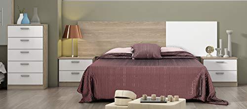 Miroytengo Pack Muebles Dormitorio Matrimonio Kate Estilo Moderno (Cabezal + 2 Mesitas Noche + Cómoda)