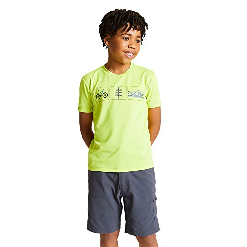 Dare 2b T-Shirt Technique Junior Rightful Léger et Respirant avec Propriété de séchage Rapide et Motifs réfléchissants T-Shirts/Polos/Vests Enfant Lime Punch FR: XXS (Taille Fabricant: 3-4)