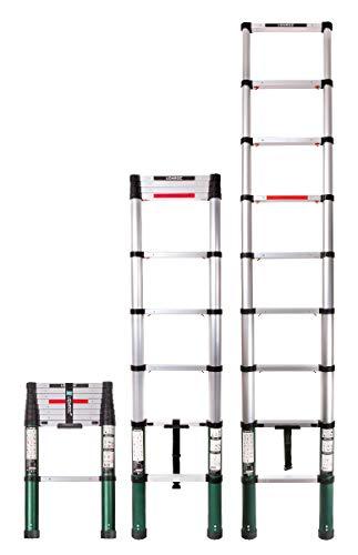 VONROC Profi Teleskopleiter 2,6 Meter, gemäß DEKRA-Zertifizierung und EN 131, sehr robust gebaut und montiert für Ihre Sicherheit – mit Softclose-System
