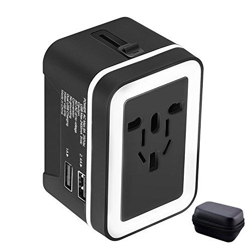 Adaptador Enchufe de Viaje Universal Enchufe Adaptador Internacional con Dos Puertos USB para US EU UK AU Acerca de 150 Países y Seguridad de Fusibles para Tableta PC, Smartphones Cámaras Digitales