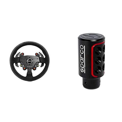 Thrustmaster TM Rally Wheel AddOn Sparco R383 Mod (Steering Wheel AddOn, 33cm, Suede, PS4 / PS3 / Xbox One / PC) + Sparco SPC0103 Pomo de Cambio de Marcha para Coche Racing Color Logo Universal