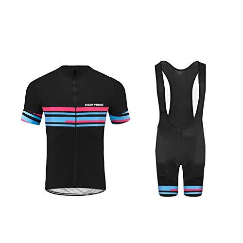 Uglyfrog+ Herren Kurzarm Radtrikot Set mit Jugend Rennrad Radtriktot Bid Shorts Atmungsaktiv Quick-Dry Fahrradbekleidung