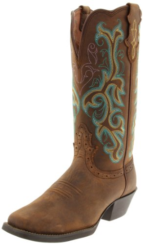 """Justin Boots Women's Stampede Collection 12"""" Boot Wide Square Single Stitch Toe Western Rubber Outsole,Medium Brown,5.5 B US"""