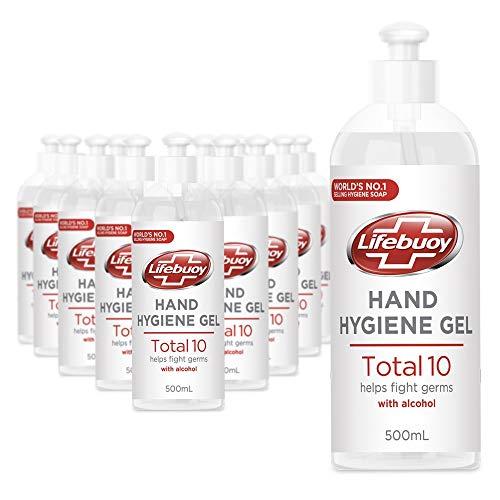 Unilever Lifebuoy Desinfektion Handgel beseitigt 99,9% Bakterien mit 65% Alkohol, 12 x 500 ml Desinfektionsgel