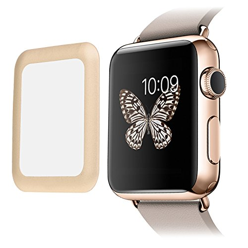 [Edge to Edge] SUPTMAX Screen Protector for Apple Watch Series 1 38mm Full Coverage [Anti-Scratch] Apple Watch Cover Tempered Glass Screen Protector (38mm-Gold)