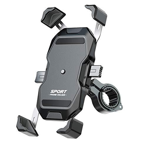 【1秒ロックアップ】自転車 スマホ ホルダー バイク スマホ ホルダー 振れ止め 脱落防止 GPSナビ 携帯 固定用 マウント スタンド 防水 4.7-6.8インチ に適用 iPhone HUAWEI Samsung Sony LG android 多機種対応 360度回転 脱着簡単 ステンレス鋼伸縮アーム 優れた耐久性 強力な保護