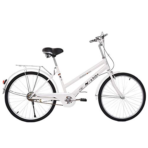 US Spot Womens Comfort Bikes Beach Cruiser Bike, 24/26-Inch Commuter Bicycle High-Carbon Steel Frame, Front Basket & Bell, Rear Racks Retro Bicycle Road Bikes,Unisex Classic Iron Bicycle (24In White)