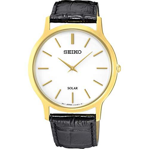 Seiko Herren Analog Quarz Uhr mit Leder Armband SUP872P1